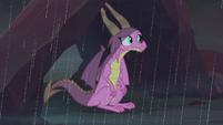 Scales sitting in the Dragon Lands rain S8E16