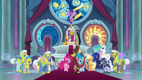Ponies in throne room hear Cozy Glow S9E24