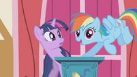 Rainbow Dash interrupts Twilight's speech S1E04