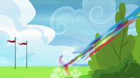 Rainbow Dash zooms off toward Pinkie Pie S7E23