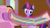 Twilight Sparkle reveals the cruise schedule S7E22