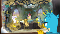 Gallus looks at griffons through the window S8E16