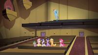 Main cast looks up towards Rainbow Dash S4E08