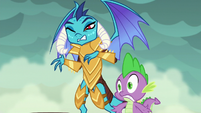 Spike and Ember hear Rarity's squeal S6E5