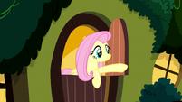 Fluttershy closing her cottage door S8E18