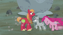 Pinkie Pie pushes Marble next to Big Mac S5E20