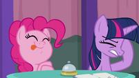 Pinkie licks her lips; Twilight annoyed S9E16
