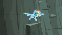 Rainbow Dash flying after Lightning Dust with her injury S3E07
