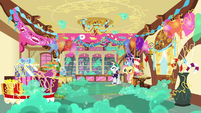 Sugarcube Corner covered in silly string and bubbles S7E19