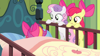 Sweetie and Apple Bloom sees Scootaloo on bed S4E17