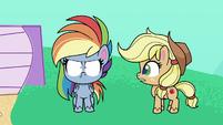 Applejack appears next to Rainbow PLS1E2b