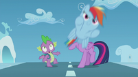 Filly Rainbow zooms past Twilight and Spike S5E25
