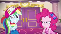 Pinkie looking cross at Rainbow Dash EGSB