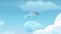 Rainbow Dash spiraling through the air S6E24