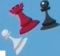 Black pawn, white pawn, and red rook