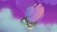 Seaspray's ship with windblown sails S8E21
