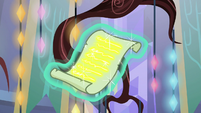 Starlight Glimmer's scroll with gold text S7E24