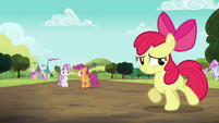 Sweetie Belle and Scootaloo sees Apple Bloom walking S5E17