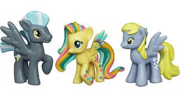 Thunderlane, Derpy and rainbowfied Fluttershy toys.png