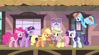 Applejack giving a basket of apples to Fluttershy S4E11
