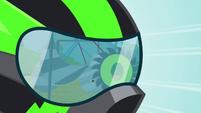 Close up on Lightning Dust's helmet S8E20
