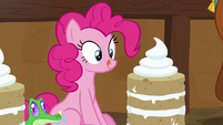 Pinkie Pie looks at yak cake and licks her lips S7E11
