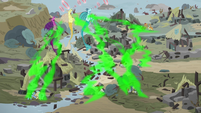 Sirens collecting negative energy from the village S7E26