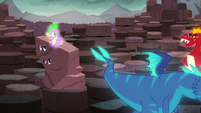 Spike waves at a blue dragon; Garble walks into frame S6E5