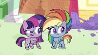 Twilight and Rainbow look back at Pinkie PLS1E1a