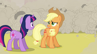 Applejack relieved by being saved from Twilight S2E26