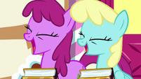Berryshine and Sassaflash laughing at Pinkie S7E14