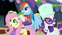 Fluttershy, RD, and Rarity sing together MLPBGE