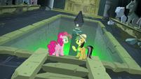 Pinkie and Daring Do at a chasm with no bridge S7E18
