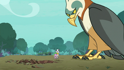 Spike and Zecora approach a giant roc S8E11.png