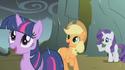 Twilight, AJ, and Rarity rained on by dragon tears S1E07
