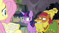 Twilight Sparkle and Cattail looking very nervous S7E20