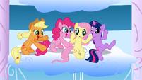 Applejack, Pinkie Pie, Fluttershy and Twilight watching the Sonic Rainboom S01E16