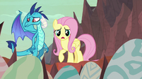 Fluttershy and Ember look concerned S9E9