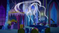 Luna's magic threads float down to the Mane Six S5E13