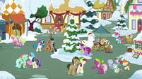 Ponies singing together in Ponyville square MLPBGE
