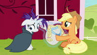 Rarity gives wig and bonnet back to Applejack S7E19