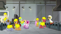 Workers having fun around factory S9E14