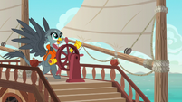 Gabby sailing a sailboat on the water S6E19