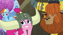 Pinkie Pie admiring her honorary yak horns S7E11