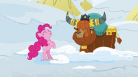 Pinkie Pie licking her lips hungrily S7E11