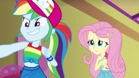Rainbow Dash proud; Fluttershy embarrassed EGSB