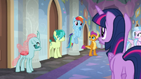 Rainbow Dash returns to the student dorms S8E16