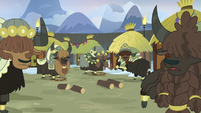 Yaks looking at Prince Rutherford S7E11