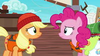 Applejack and Pinkie look at each other uncertain S6E22