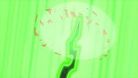 Chrysalis' horn appears and vaporizes AJ's hat S5E26